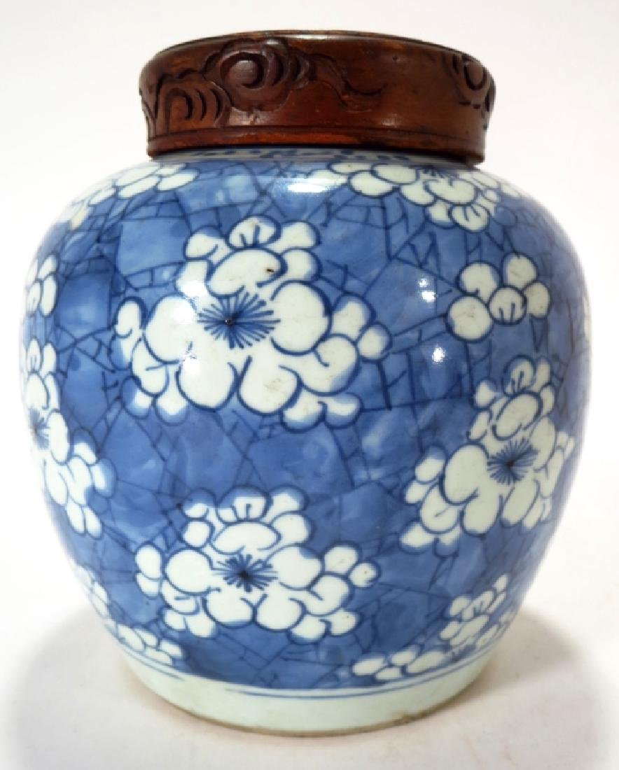 Chinese Blue & White Pottery Ginger Jar, 19th C.