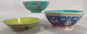 Three Chinese Bowls with Floral Motifs