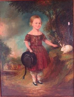 Folk Art,Am.,19th C.,Child & Rabbit,o/b