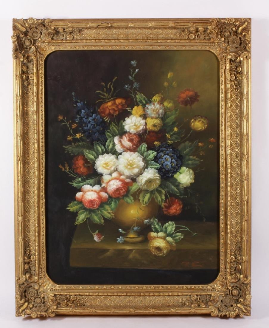 Large Framed Floral Still Life, 20th C, O/C