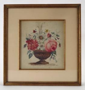 Am. Sch., 19th c., Floral Theorem, 1845, W/C