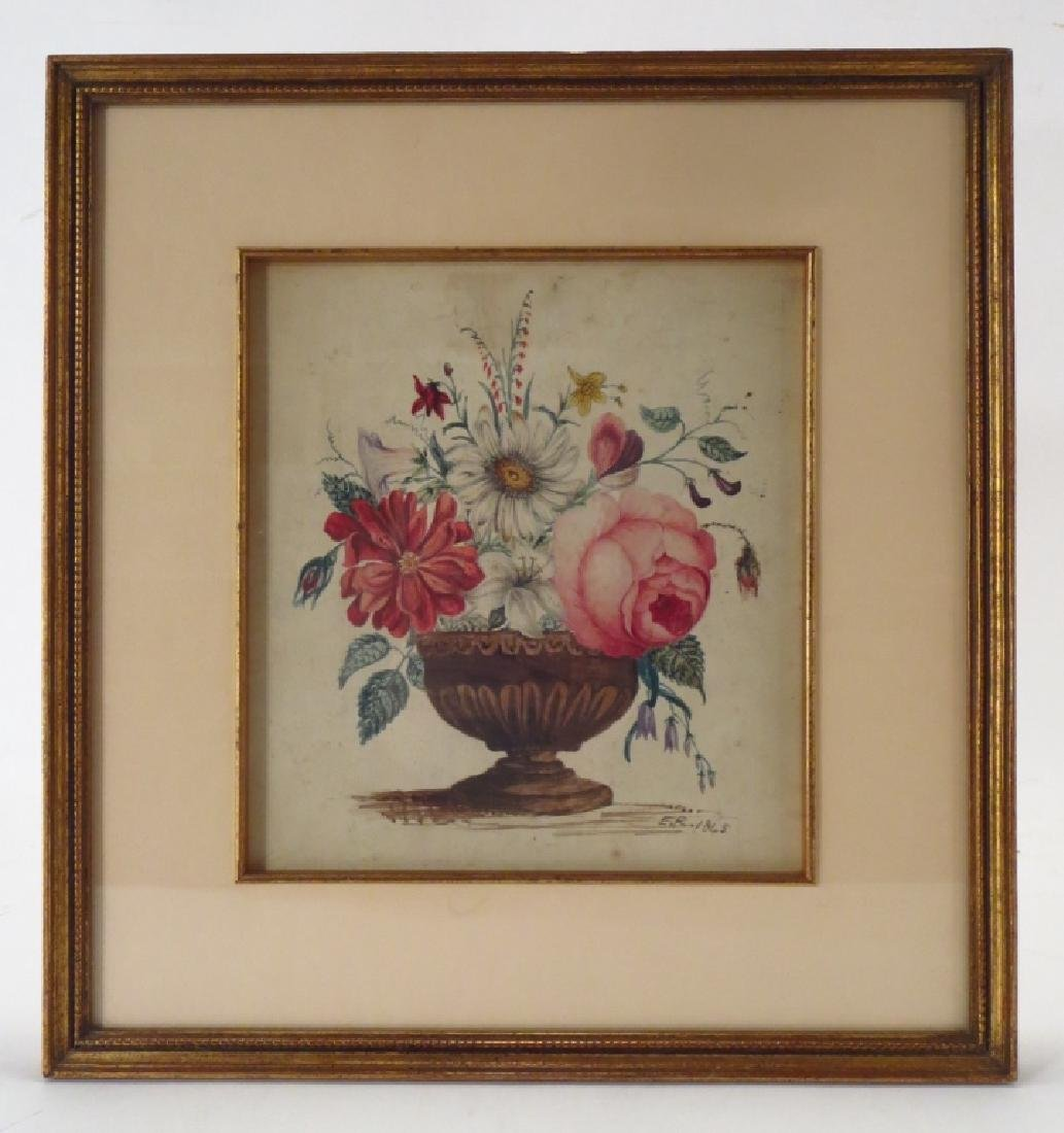 Am. Sch., 19th c., Floral Theorem, 1845, W/C