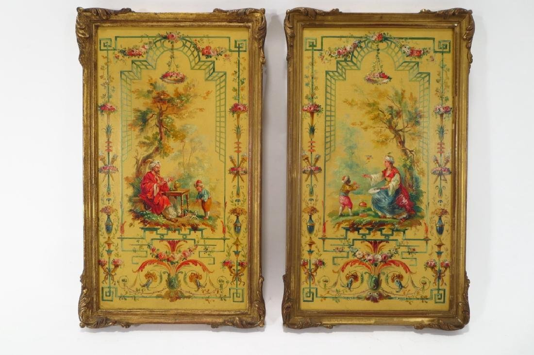 After Pillement, Fr. Hand Painted Decorative Panels