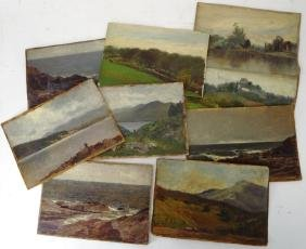 Lot of 9 Small English School Landscapes o/c