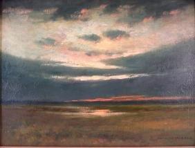 Arthur Hoeber, Am., Sunset, o/b, signed