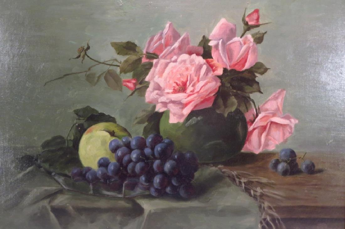Alexandrine, French, 19th c., Roses/Fruits, O/C
