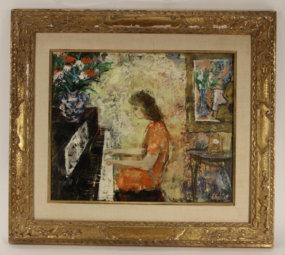 """Berto Taubert, Fr., 1915-1974, """"Au Piano"""", O/C"""