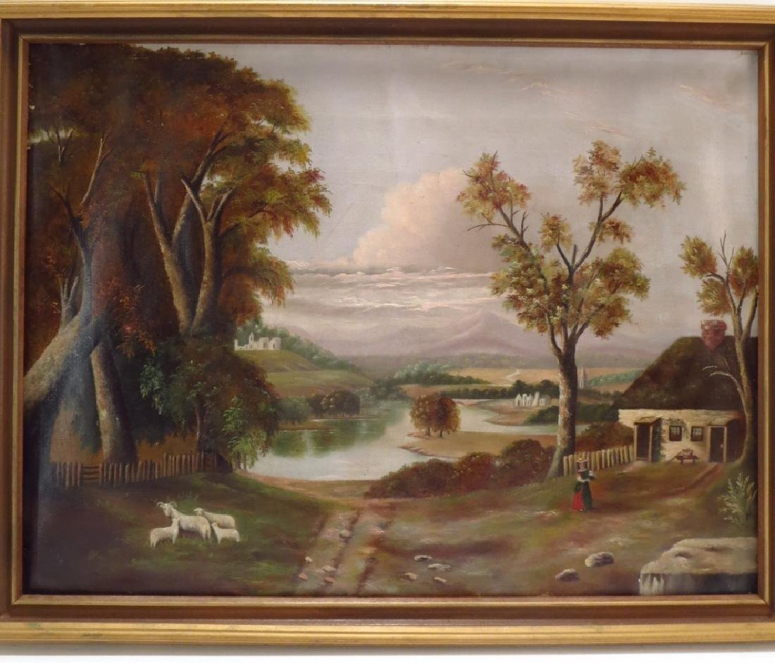 American School, 19th C., Landscape with Sheep
