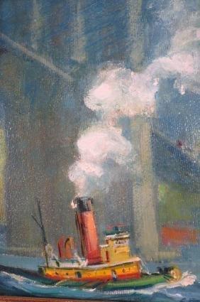 Cecil Bell, Tug Clearing Brooklyn Bridge, O/B, '64