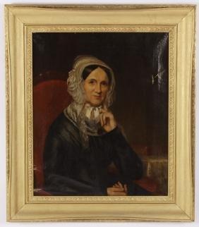 American School Portrait of Woman, 19th C., O/C