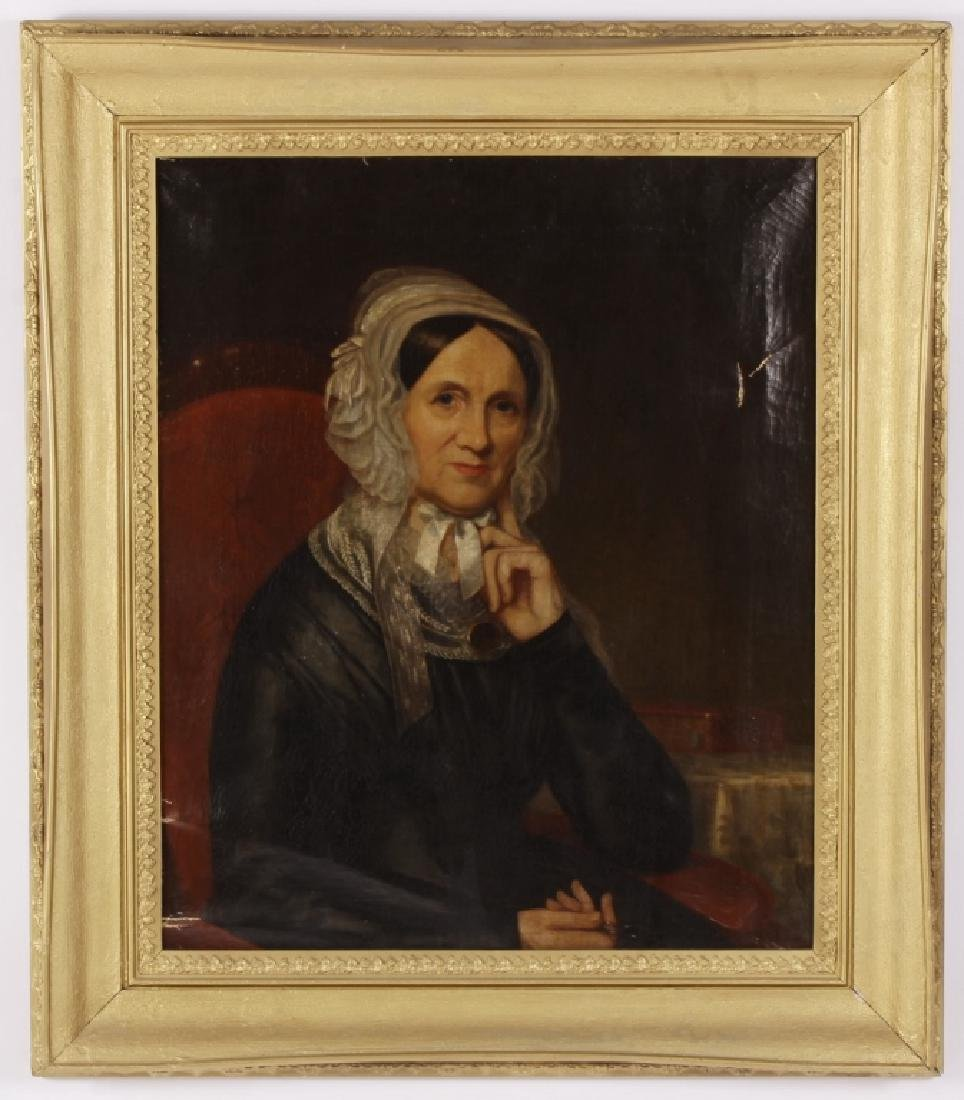 American School Portrait of Woman, 19th C., O/C