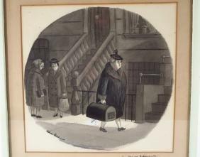 Charles Addams, Am., Matron & Cat, Ink Wash