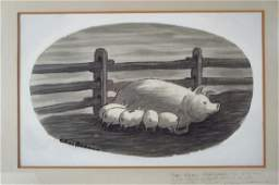 Charles Addams Am Nursing Piglets Ink Wash