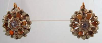Pair of 18 kt Gold & Diamond Italian Earrings