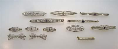 Lot of 13 Bar & Sweater Pins 14 kt Gold c.1920