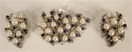 Set 3 Leaf Motif Brooch & Earrings 14 k White Gold