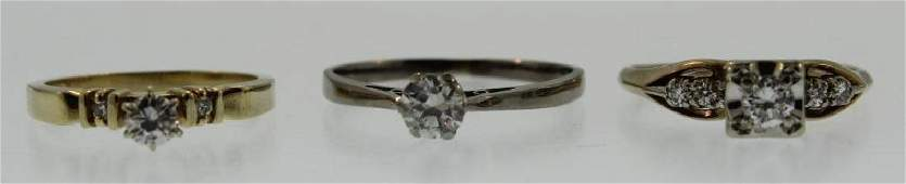 Three 14K Gold and Diamond Rings