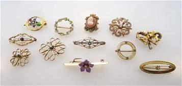 Lot of 12 Vintage 10 kt Gold Pins c.1920