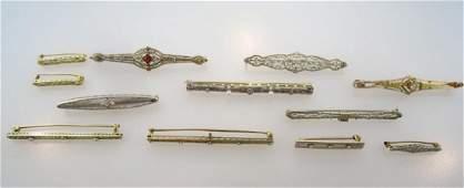 Lot of 12 Bar & Sweater Pins 14k & 10k Gold c.1920