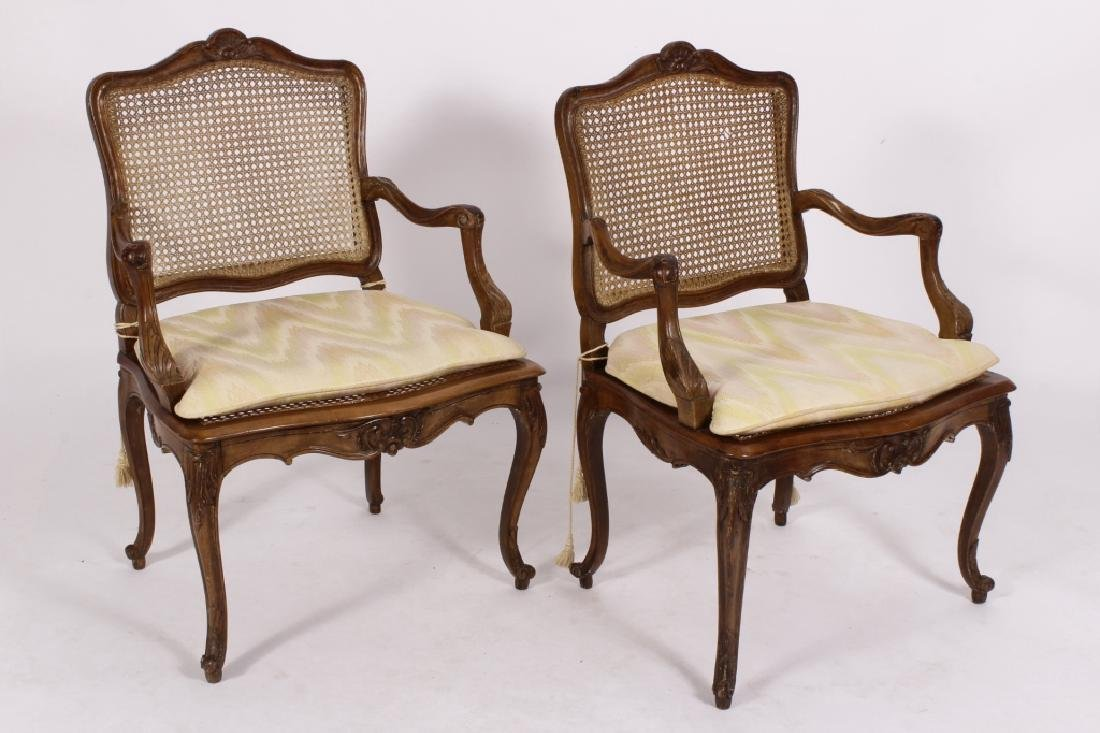 Pair of Louis XV Carved Bergeres, 18th C.
