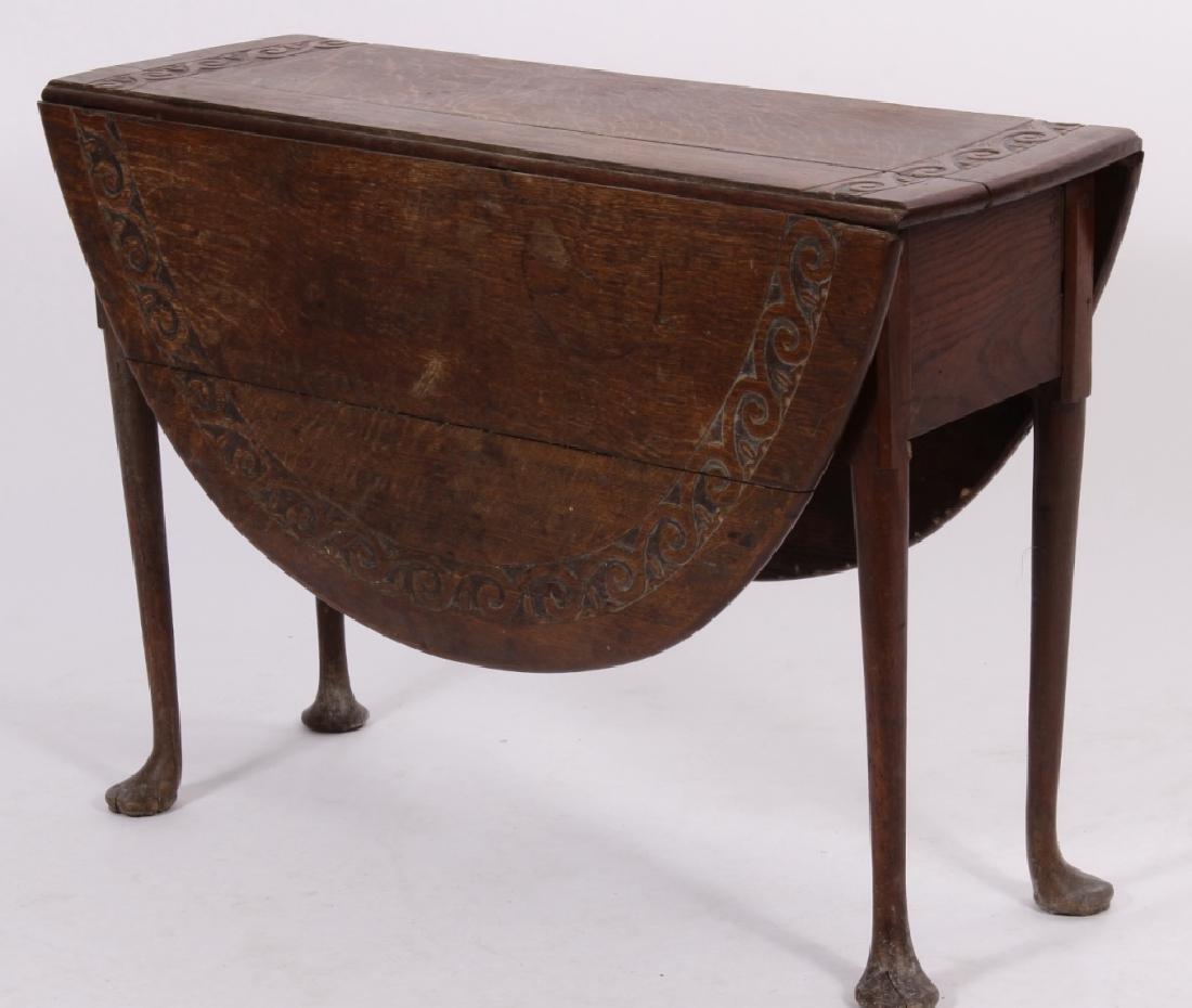 English Oak Carved Oval Drop Leaf Table,18th C.