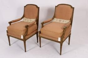 Pr. of Louis XVI Fauteuil,18th C.,Norell Showroom