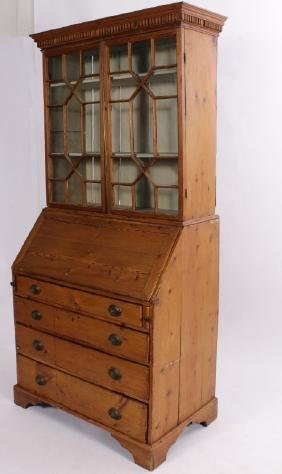 American Chippendale Pine Slant Front Secretary