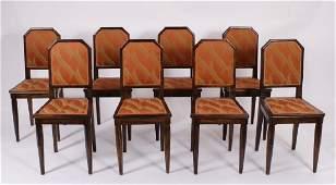 Eight Art Deco Palisander Wood Side Chairs