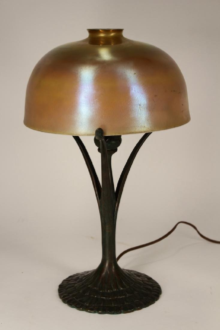 Tiffany Studios Bronze and Favrile Glass Lamp