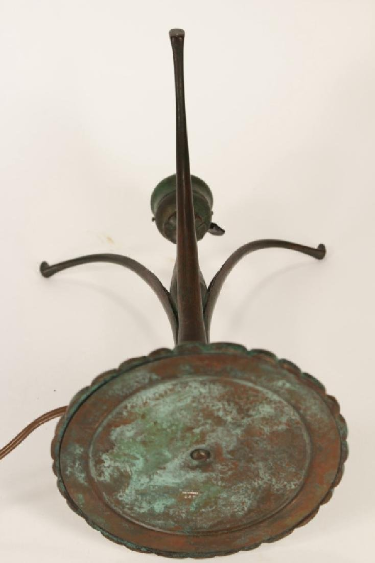 Tiffany Studios Bronze and Favrile Glass Lamp - 5