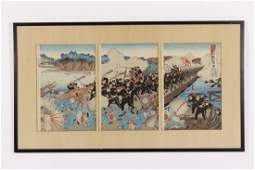 1894 Woodblock Triptych  SinoJapanese War