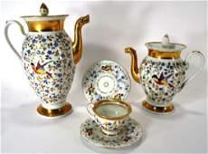 5 pcs Old Paris Porcelain Coffeepot Teapot 19th C.