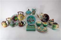 Collection of Majolica: Boxes, Jugs,Teapots, et al