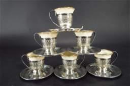 Set of 6 Lenox  Gorham Sterling Demitasse Cups