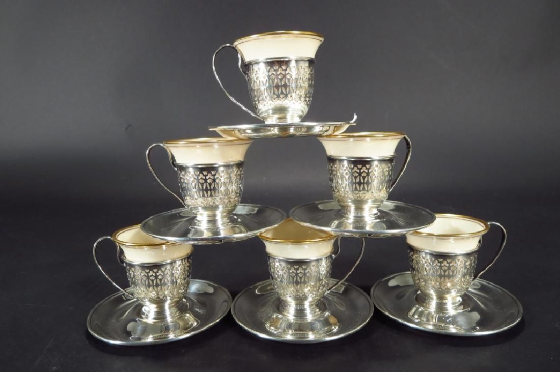 Set of 6 Lenox & Gorham Sterling Demitasse Cups