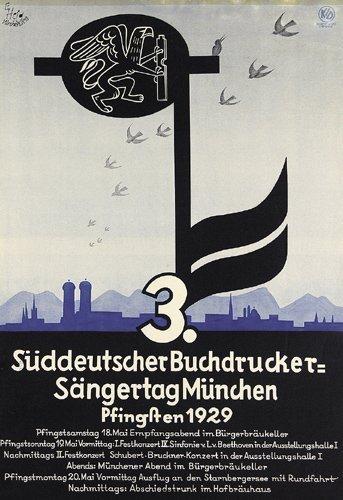 184: Altes Plakat 1929 Buchdrucker-Sängertag