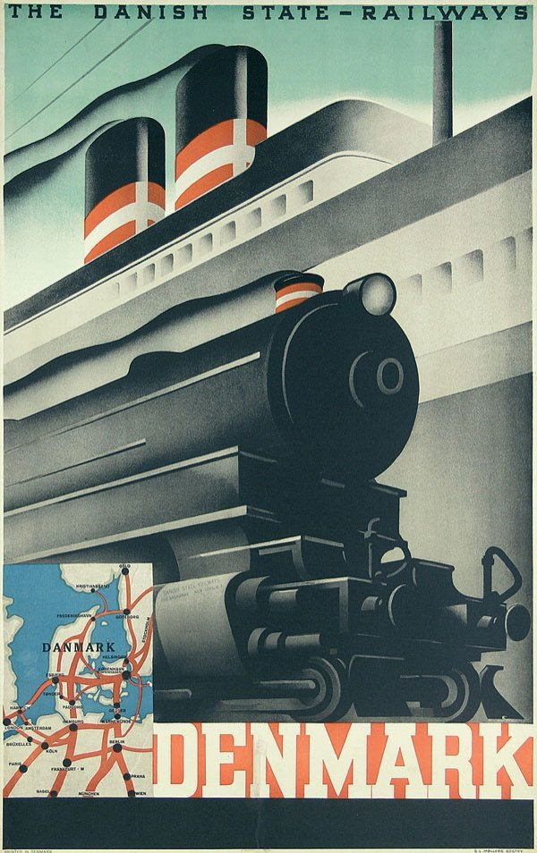 1: Altes Plakat Danish State-Railways Poster 1930