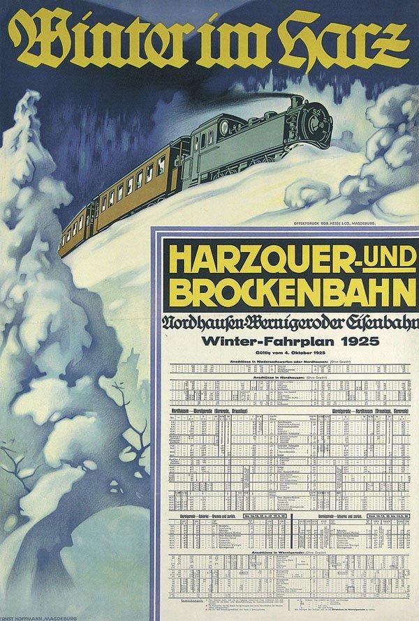 2: Altes Reise Plakat Winter Harz 1925