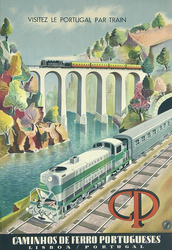 3: Altes Reise Plakat Portugal Train Poster