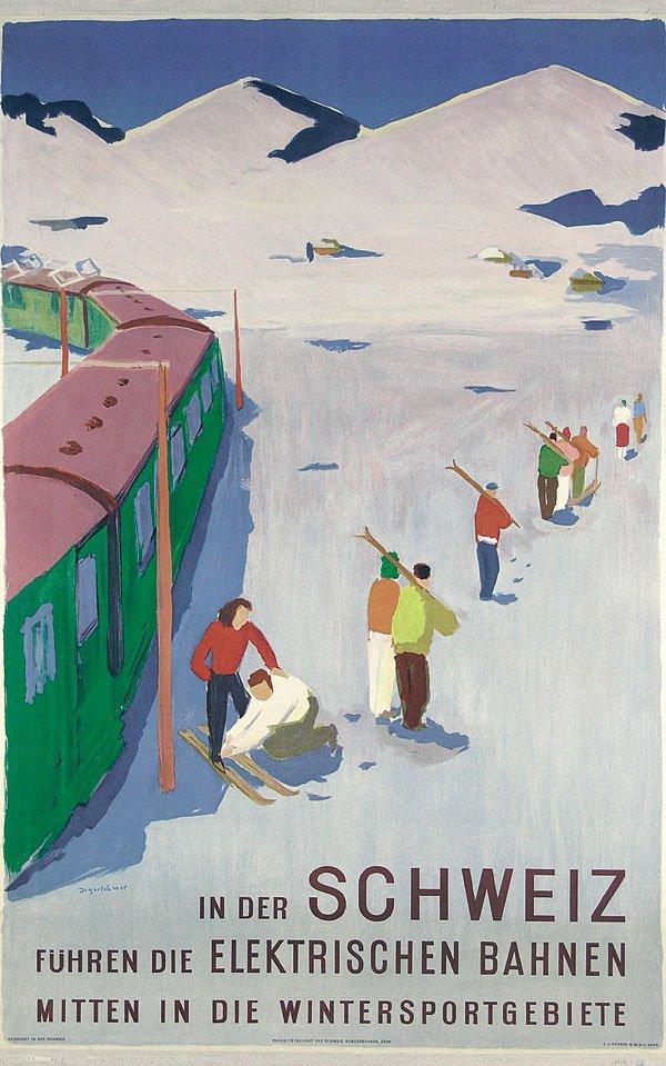 4: Altes Plakat Schweiz Ski Jegerlehner 1951
