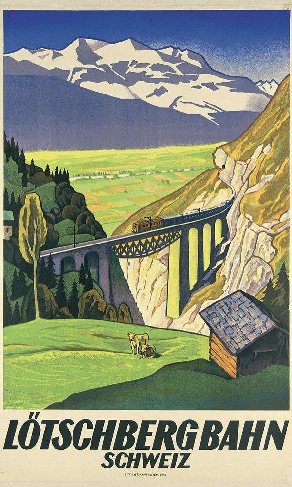 6: Altes Plakat Lötschbergbahn 1931