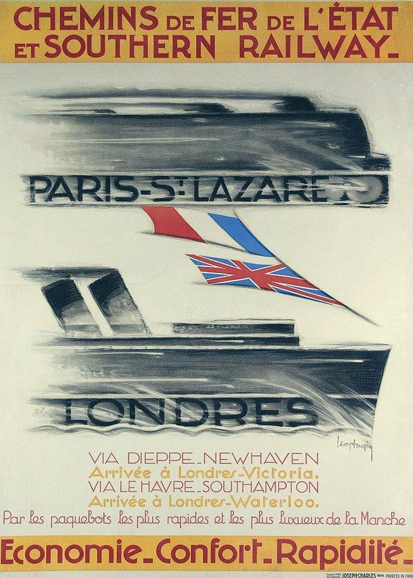 7: Altes Reise Plakat Paris Londres Train Poster