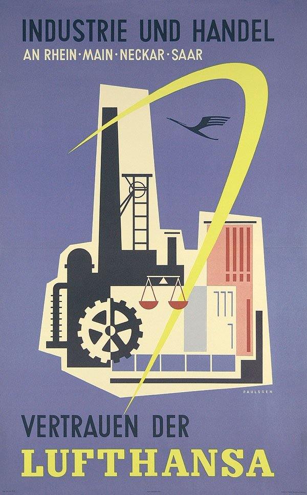 8: Altes Lufthansa Reise Plakat 1955