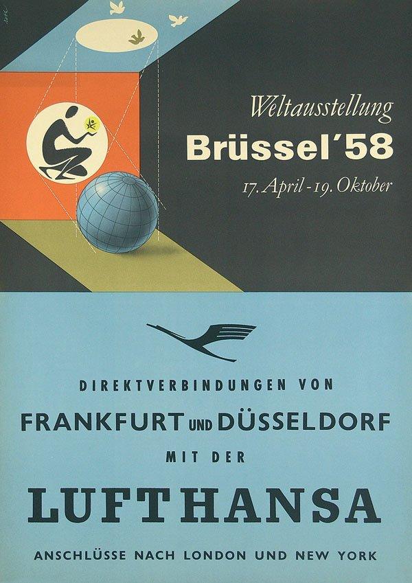 10: Altes Plakat Lufthansa-Weltausstellung Brüssel