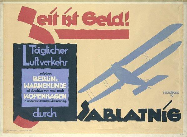 13: Altes Reise Flugzeug Plakat Sablatnig 1919