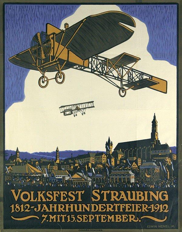17: Altes Reise Plakat Straubing Flugzeug