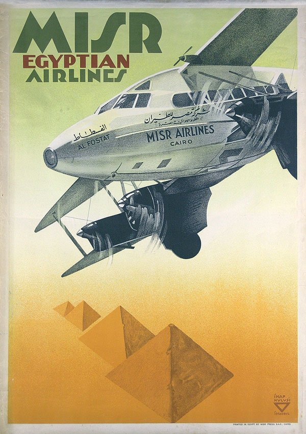 18: Tolles Altes Plakat MISR Egyptian Airlines Poster