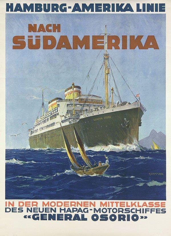 19: Altes Plakat HAPAG Südamerika 1925