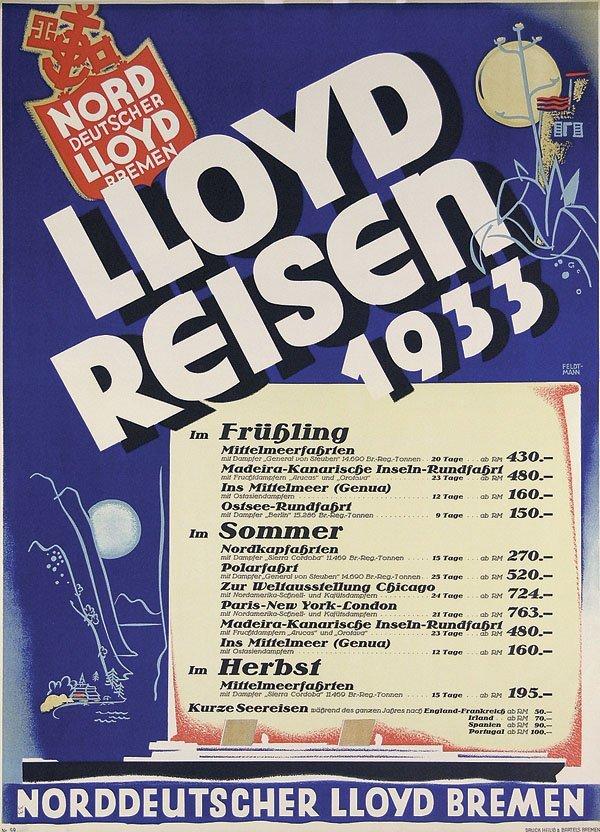 21: Altes Plakat NDL Lloyd Reisen Feldtmann