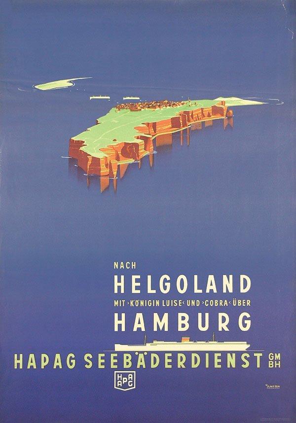 22: Altes Plakat HAPAG Helgoland ANTON
